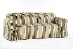 Classic Slipcovers Printed Classic Stripe Canvas Sofa Slipcover, Sage