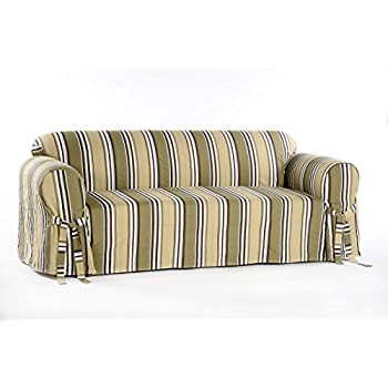 Classic Slipcovers Printed Classic Stripe Canvas Sofa Slipcover, Sage