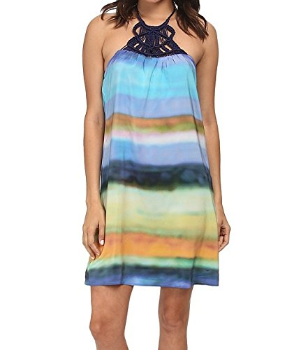 Trina Turk Women's Amaia Summer Ombre Habotai Dress With Macrame, Multi, (Ombre Silk Dress)