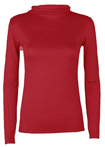 Hot Hanger, maglietta da donna, con collo dolcevita e maniche lunghe Red