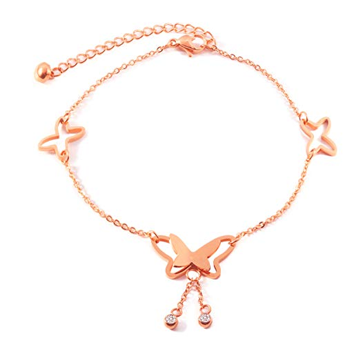 Forise Stainless Steel Rose Gold Butterfly Anklets for Women Girls Adjustable Beach Fashion Foot Jewelry