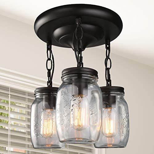 LNC Flush Mount Ceiling Light Fixture,Farmhouse Mason Jar Glass Pendant for  Kitchen Island Bedroom Living-Room A02981, Brown