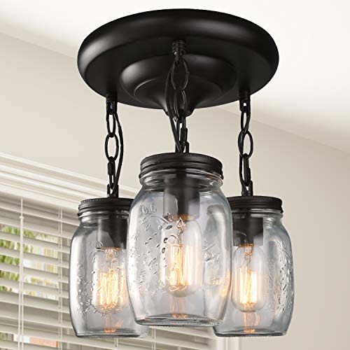 LNC Flush Mount Ceiling Light Fixture,Farmhouse Mason Jar Glass Pendant for Kitchen Island Bedroom Living-Room A02981, Brown ()