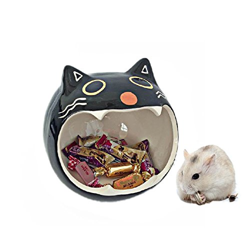 Ceramic Hamster Bedding Hideout Nest, Chinchilla Cage Accessories, Hamster House Toys Home And Bath for Small Animal Sugar Glider Squirrel Chinchilla Hamster Rat Playing Sleeping Ceramic Chinchilla House