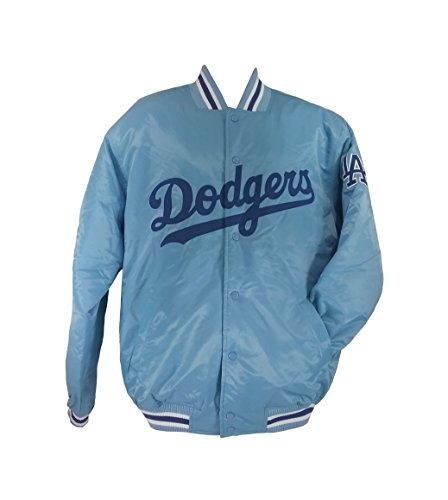 MO46 Majestic Men's Dodgers Satin Jacket Sky Blue Size ()
