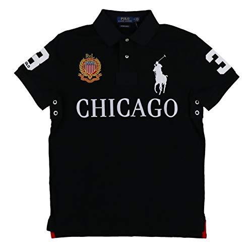 Polo Ralph Lauren Mens Custom Slim Fit Mesh City Polo Shirt (M, Black ()
