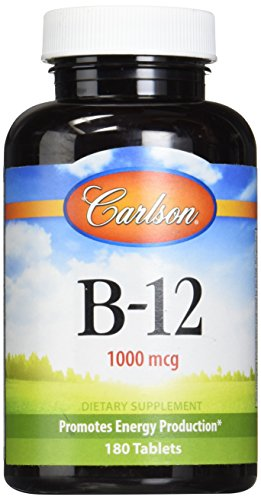 Carlson Vitamin B-12 (Carlson Labs B-12-SL, 1000mcg, 180 Chewable Tablets)
