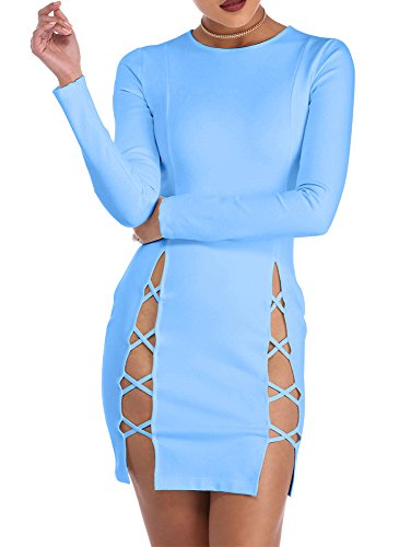 TOB Women's Sexy Summer Bodycon Long sleeves Lace up Mini Club Dress Blue