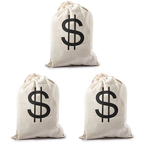Large Money Bags Drawstring Pouch with Dollar Sign - Halloween Party Trick or Treat/Bank Robber/Cowboy Pirate Favors Supplies Costume Prop Canvas (Bank Robber Costumes)