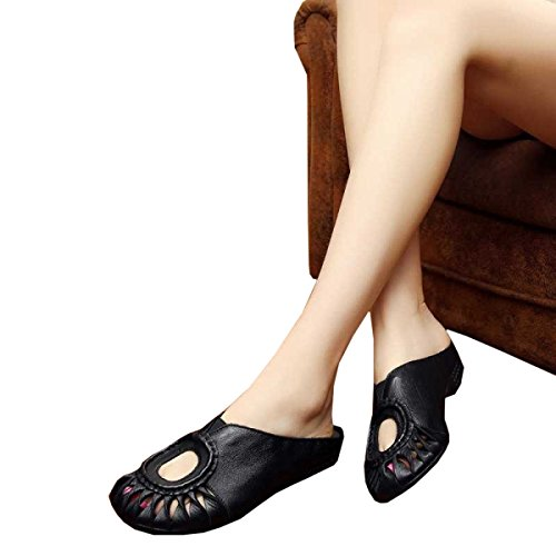 Dfb Female Half Women Black Low Heel Slippers Sandals Hollow For Baotou Leather Slippers Head 35 Retro Handmade Drag BEwBrI