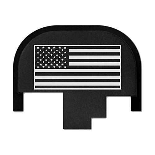 Bastion rear slide cover plate for Smith & Wesson S&W M&P 9mm .40 40 cal .357 45 acp full size and compact only, butt plate laser engraved - USA Flag (Smith And Wesson M&p 40 Pro Series Review)