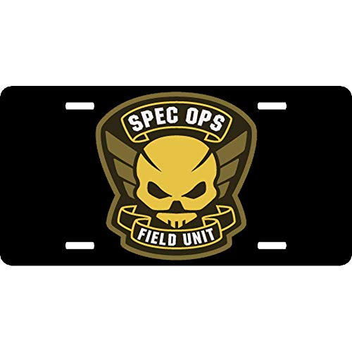 XYcustomBest Personalized Heavy Duty Army Engineer Corps Slim License Plate Frame Black | Spec Ops Field Unit (2) |for Any US/CA Heavy Duty Veteran Vehicle, 2Holes and Screws (Units Us Engineer Army)