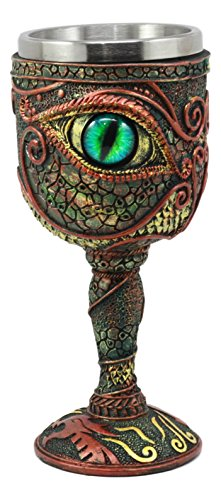 Ebros Wizard's Alchemy Eye Of The Dragon Wine Goblet Chalice 7oz Capacity Figurine Resin With Stainless Steel Liner by Ebros Gift