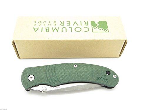 Columbia-River-Crkt-Italian-6032-Contrail-EMS-Etched-Green-G10-Handle-Medium-Part-Serrated-Knife