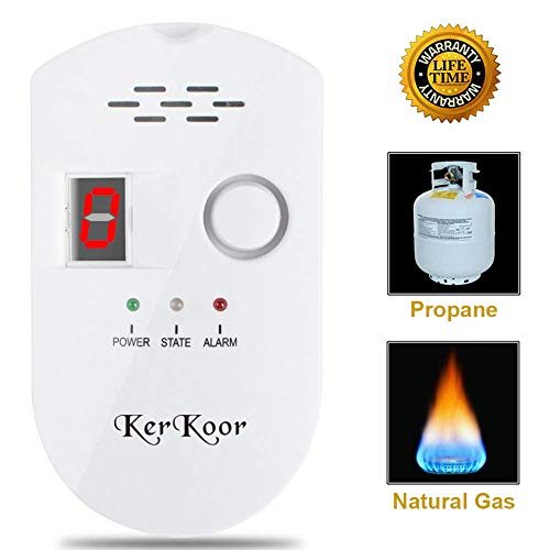 Gas Detector Sensor - KerKoor Gas Leak Detector-1 Natural Gas Alarm Detector For Home Gas Tester Propane Smart Gas Detector Electronic Sniffer Pen Plug-In Gas Detector For Gas Sensor Methane And Propane 5×3 in/White/1pack