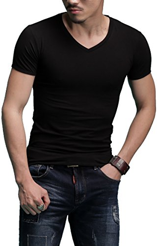 Sunshine Code Men's Tagless Slim Fit Top Muscle Cotton V-Neck Short Sleeve Undershirts T-Shirts, L, -
