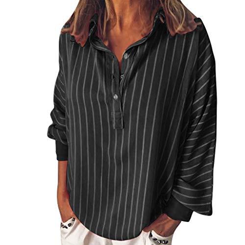 (YKARITIANNA Fashion Woman Loose Casual Striped Button Lapel Long Sleeve Shirt Top Blouse 2019 Summer Black)