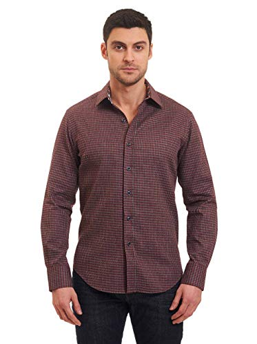 Robert Graham Murano L/S Houndstooth Print Woven Shirt Classic Fit Burgundy 2Xlarge