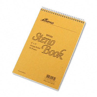 Ampad 25472 Spiral Steno Book Gregg Rule 6 x 9 White 70 Sheets