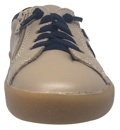 Old Leather Side Taupe Navy Lace Legends Zipper Elastic Boy's and Stripe Sneaker Racer Girl's Soles rXqCr