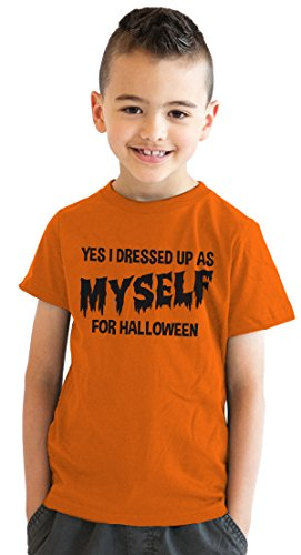 Youth I Dressed Up As Myself For Halloween T Shirt Funny Costume Tee For Kids (orange) S