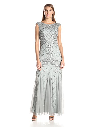 Adrianna Papell Women's Fully Beaded Gown with High Neckline, Blue Mist, 4