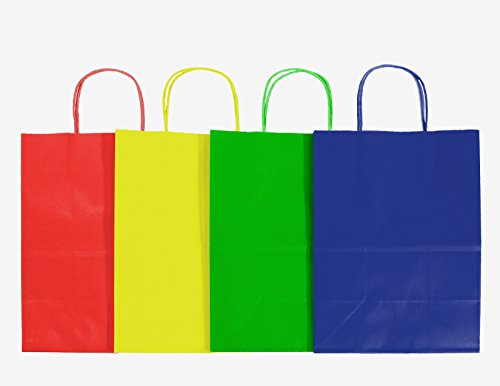 12CT LARGE PRIMARY BIODEGRADABLE, FOOD SAFE INK & PAPER, PREMIUM QUALITY PAPER (STURDY & THICKER), KRAFT BAG WITH COLORED STURDY HANDLE (Large, Primary)