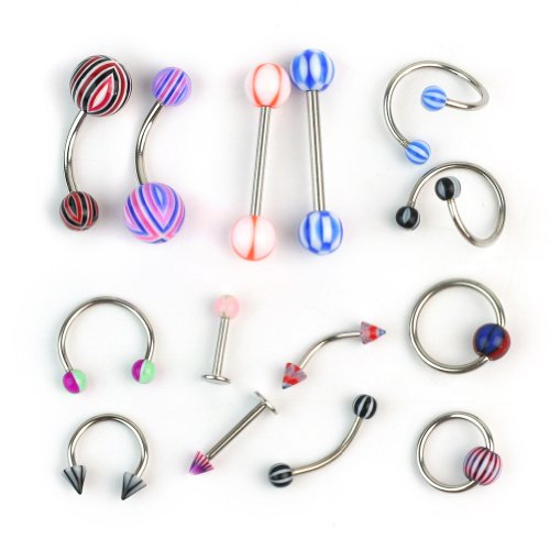 ReFaXi 100 Labret Lip Belly Tongue Bar Ring Barbell Body Piercing Jewelry Multicoloured, 100/PCS