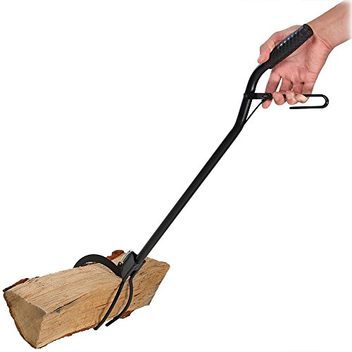 Sunnydaze Heavy Duty Black Log Grabber, 36 Inch with Easy Spring Lever Action