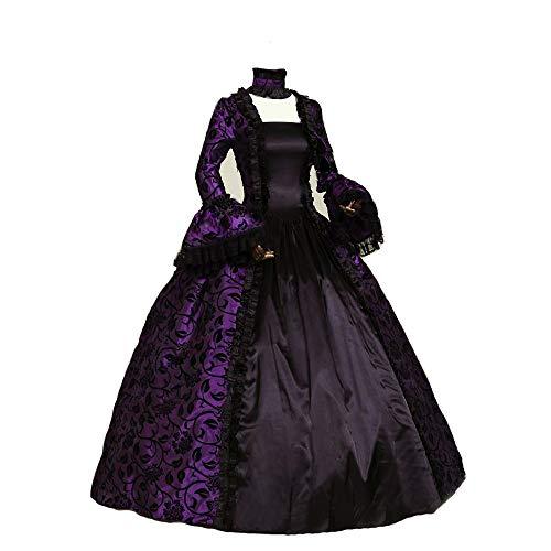 Black Ball Gown Halloween Costumes (CountryWomen Renaissance Gothic Dark Queen Dress Ball Gown Steampunk Vampire Halloween Costume (L, Purple &)
