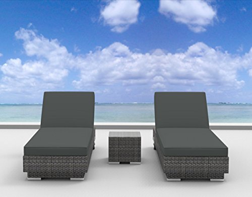 UrbanFurnishing.net 3a-Boracay-Charcoal 3 Piece Modern Patio Chaise Lounger Set