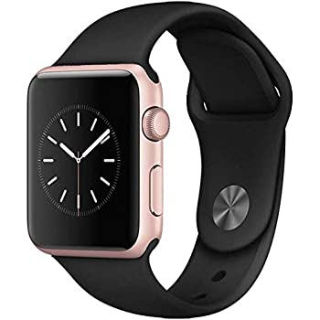 Apple Watch Series 1 Smartwatch 42mm, Rose Gold Aluminum Case/Black Sport Band (Newest Model) (Renewed)