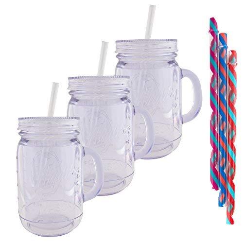 Aladdin (3 Pack) 20oz Plastic Mason Jar Tumbler With Straw and Lid Temperature Control Travel -