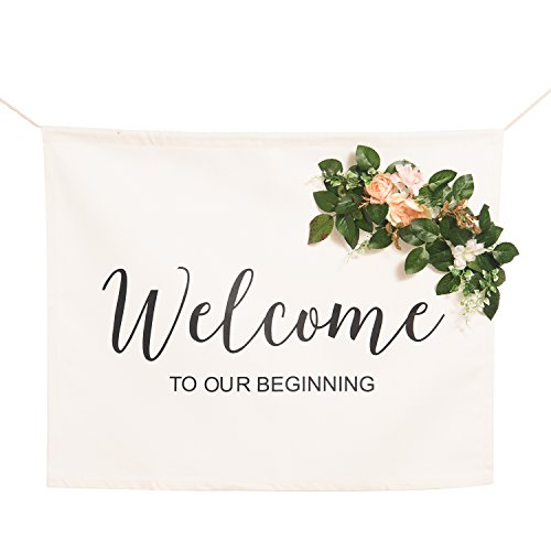 - Ling's moment Canvas Wedding Banner - Calligraphy Welcome to Our Beginning Wedding Sign w/Removable Artificial Flower Decor for Bridal Shower Wedding Reception