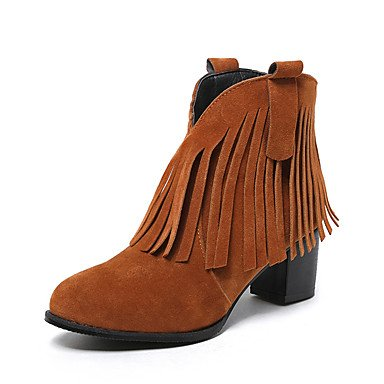 Boots UK2 Fashion Booties Round RTRY Heel CN33 Chunky Boots 5 Boots Light 5 Toe EU34 Ankle Women's 2 Leatherette Dress For Tassel Winter US4 4 Casual Shoes Brown Bootie zqWx76q4Iv