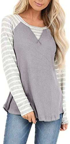 IEasⓄn Women Round Neck Splicing Printed Long Sleeve Loose Fitting Tunic Blouse Tops