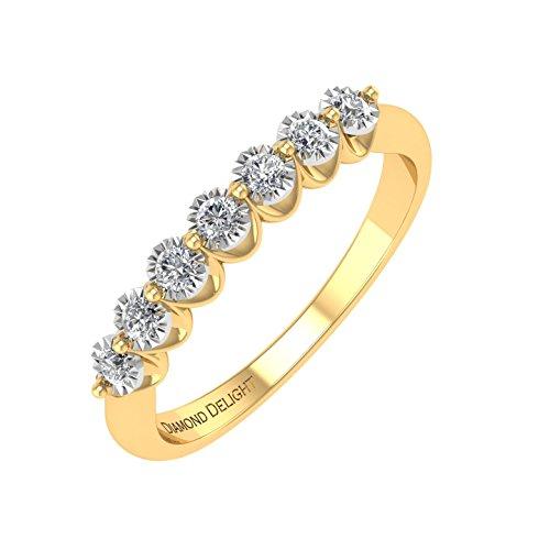 10k Yellow Gold 7 stone Flush Set Wedding/Anniversary Diamond Band Ring (0.07 Carat) - IGI Certified