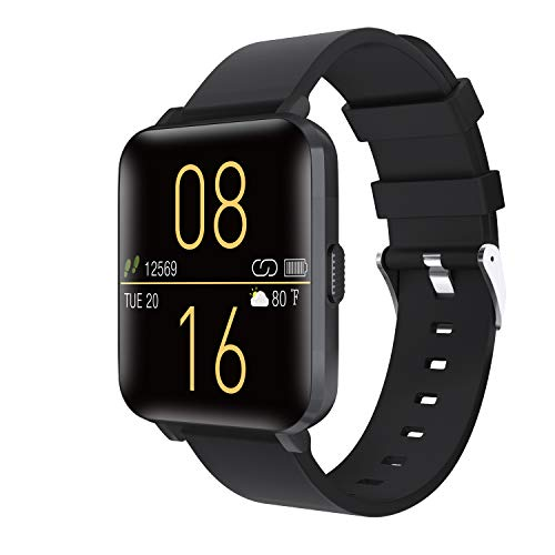 """Kalakate Smart Watch for Men Women, Fitness Tracker with IP68 Waterproof for Android iOS Phone, Smartwatch with 1.54"""" Touch Screen, Pedometer, Heart Rate, Sleep Monitoring, Weather Forecast (Black) from Kalakate"""