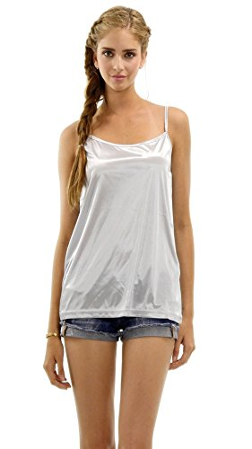 (Women Basic Satin Camisole Chemise Top - for Sheer Tops Tunics Sweaters Sleepwear Nightgown (X-Large, Silver))