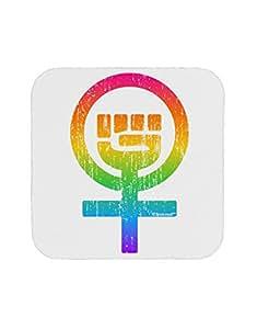 TooLoud Rainbow Distressed Feminism Symbol Coaster