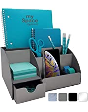 Acrylic Office Desk Organizer with Drawer, 9 Compartments, All in One Office Supplies and Cool Desk Accessories Organizer, Enhance Your Office Decor with This Desktop Organizer