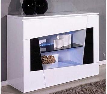 Console Design Antonello A Led Laque Blanc Noir Amazon Fr