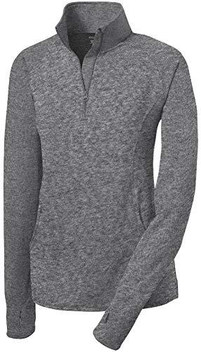 Joe's USA Ladies Moisture Wicking Stretch 1/2-Zip Pullover Sweatshirt CharcHeather-3XL - Stretch Pullover