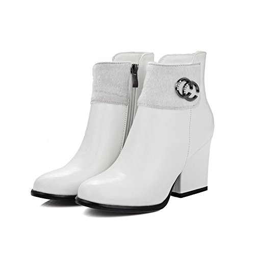 A&N Womens Chunky Heels Metal Ornament Comfort Imitated Leather Boots White jse4bkVK