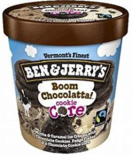 product image for Ben & Jerry's - Vermont's Finest Ice Cream, Non-GMO - Fairtrade - Cage-Free Eggs - Caring Dairy - Responsibly Sourced Packaging, Boom Chocolatta! Cookie Core, Pint (4 Count)