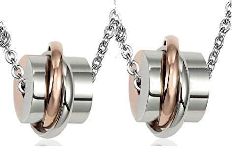 Daesar His & His Necklace Set Couples Stainless Steel Rings & Cube - Best Pics Pakistan