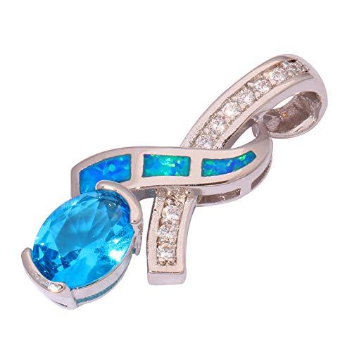 Blue Fire Opal Aquamarine Zircon Silver Women Jewelry Gemstone Pendant OD6226