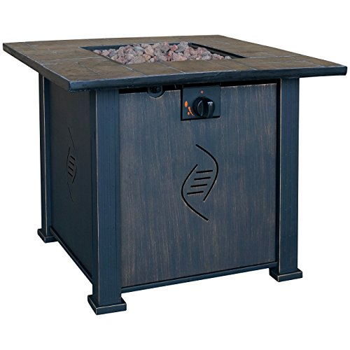 Bond Lari Outdoor Gas Fire Pit Table with Antique Wooden Finish, 24.2-Inches by 30-Inches by 30-Inches