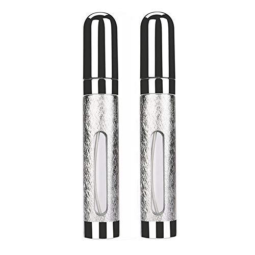 ❤️MChoice❤️2Pcs 12ml Perfume Atomizer Atomiser Spray Bottle Pump Travel Refillable Scent (Silver)