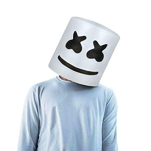 Original Manufacturer Handmade Music Marshmello Helmet Anonymous DJ White Cosplay Full Head Mask Party Prop Latex Head Mask ()